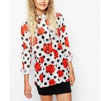 New Fashion Ladies' Elegant rose floral dot print blouses irregular long sleeve OL shirts casual slim tops--H826