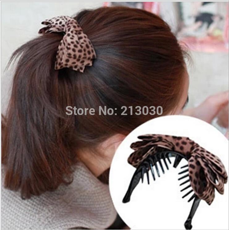 Nova chegada! Venda quente frete grátis leopardo grãos pano arte bowknot hairpin banana grampos de cabelo para meninas moda temperamento 20 pcs(China (Mainland))