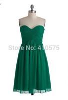 A-Line Princess Sweetheart Green Chiffon Short Bridesmaid Dress With Ruffle HWGJCBD7