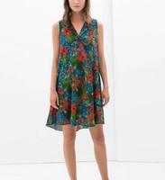 New Fashion Ladies' Vintage red floral print Dress V neck sleeveless causal slim evening party brand designer dress