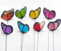 100 PCS/Lot 12 cm Colorful 3D Artificial Butterflies with Iron Wire for Flower Arrangement free shipping