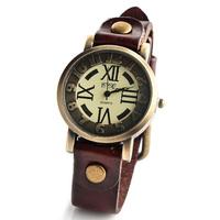 Hot Sale New Women roman number Punk leather Bracelet Watch vintage Quartz Wristwatches with buckle W1684