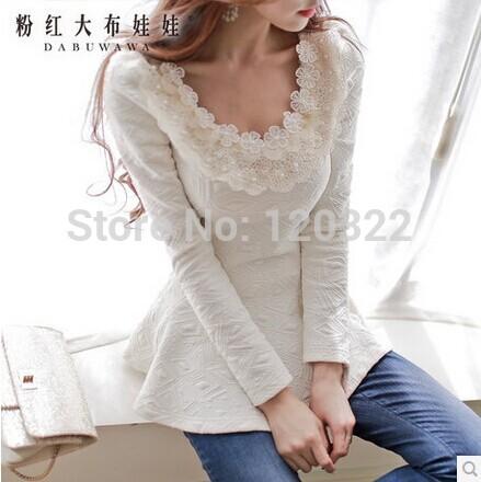 Original New Fashion 2014 Brand Spring and Autumn Light Beige Plus Size Light Gold Collar Slim Casual Vintage Women Shirt(China (Mainland))