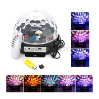 6 LED RGB DMX Disco DJ Stage Light 18W LED Crystal Magic Ball Light Support U-Disk SD Card Effect Lighting