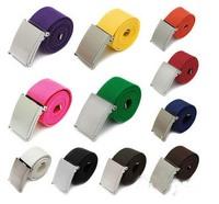 New Candy Colors Men Women Unisex Plain Webbing Cotton Canvas Metal Buckle Belt 11 Colors