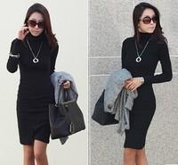 New Arrivel 2014 Women Autumn Dresses For Lady Work Wear Office Knitted Winter Dress Vestidos de Festa YS8623