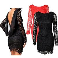 Fashion Long Sleeve Chiffon Stitching Lace Backless Dress Women's Slim Party Evening Elegant Dresses 2014 Sexy Dress Vestidos
