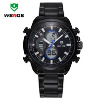 WEIDE Men Quartz Movement Sports Watches Fashion Analog Digital LCD Display Full Steel Watch Mens Casual Dress Wristwatches