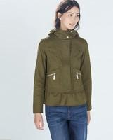 New Fashion Ladies' elegant stylish zipper hooded jacket coat long sleeve army green outwear casual slim coat--H829