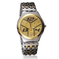 Free shipping 2014 New Fashion Gold Watch Cool Man Stainless Quartz Watch Luxury Brand Watch hot sales