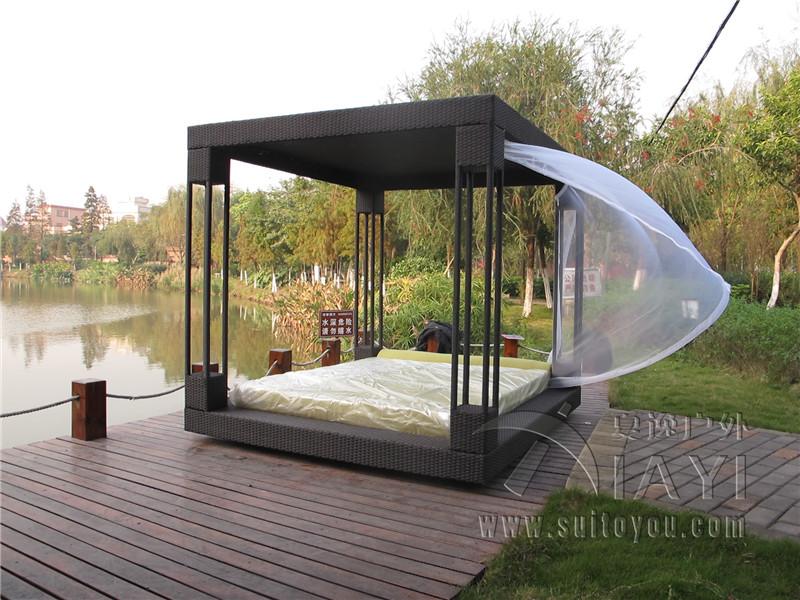 Outdoor bed cabana - Rattan Bett Wicker Cabana Keine Vorhang Seetransport China Mainland