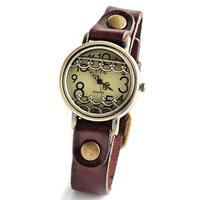 Vintage Watch New 2014 Bronze genuine Leather Strap Casual Watches Top Quality Pierced flower dress wristwatch for Ladies W1685