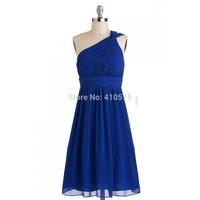A-Line Princess One Shoulder  Chiffon Short Royal Blue Bridesmaid Dress With Ruffle HWGJCBD8