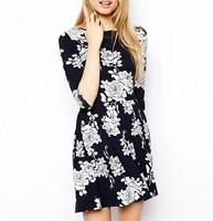 New Fashion Ladies' Elegant floral print Dress O neck half sleeve causal slim evening party dress brand designer dresses