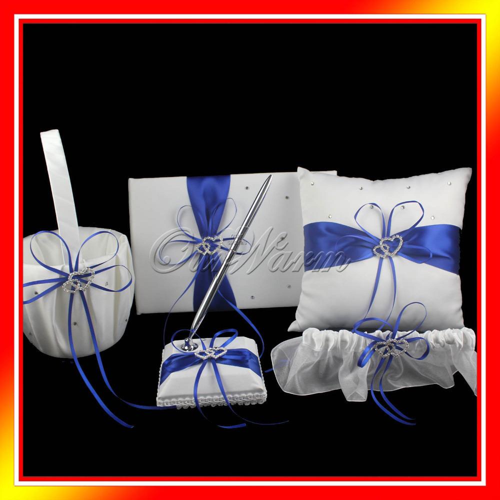 5Pcs/set 8 Colors Satin Wedding Decoration Product Ring Pillow + Flower Basket + Guest Book + Pen Set + Garter Home Decor(China (Mainland))