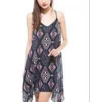 New Fashion Ladies' vintage geometric print sexy backless Dress spaghetti strap causal evening party brand designer dress