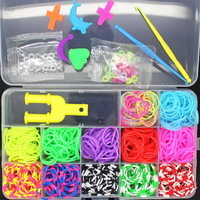 Powerful Cheap!1200pcs12 Colors Colorful Rubber Loom Bands Kit BOX! Free Shipping Factory Wholesale Charm DIY Bracelets