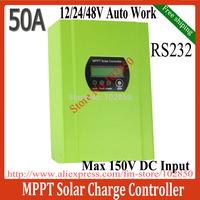 50A MPPT Solar Controller Regulator,12/24/48V Auto solar panel battery regulator,Max Solar input 150V,RS232 blue&green