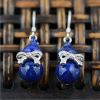100% real pure 925 sterling silver earrings women lapis lazuli calabash drop earrings best gift  jewelry free shipping TRS30545
