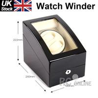 Luxury Black Dual wood Automatic Watch Winder Display Box 2 + 3 Leather storage UK Stock no Custom Taxes
