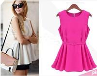 Women's Chiffon Vest Top Tank Sleeveless Slim Fashion Trend Blouse With Belt summer casual Mini Black White Shirt S-XL Plus Size