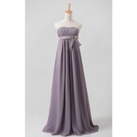 A-Line Princess Strapless Chiffon Long  Bridesmaid Dress With Bow HWGJCBD9