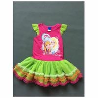 Girl Elsa & Anna Princess Dress Girls' Summer Frozen Dresses New 2014 Wholesale Kids Clothes S-4053