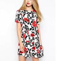 New Fashion Ladies' Elegant Vintage print Dress O neck short sleeve zipper dress casual slim evening party brand design