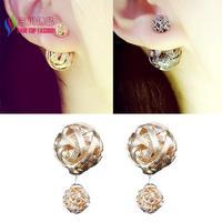 2014 new metal stud earrings fashion gold silver black double twisted wire ball piercing earstuds jewel for women bijoux gifts