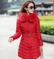 Women Jacket  Winter Fashion 2014 Cotton Coat Female Long  Lady Outerwear Fur Collar Warm Women Clothing