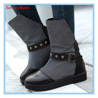 ENMAYER NEW 2015 Fashion Wedges High Heels Zip Ankle Boots For Women Sexy Round Toe Platforms Winter autumn Shoes Hot Sale
