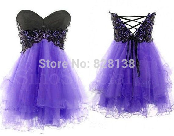 Cheap!!!2014 Cute Sweet 16 Dresses Purple A-line Appliques Corest Short Homecoming Dress,Semi Formal Gown Dress For Party W-898(China (Mainland))