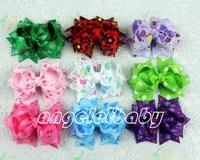 50pcs Baby handmade Headwear 3 inch Snow Wave point grosgrain ribbon Bowknot hair bows  hair clips hair accessories HD3203