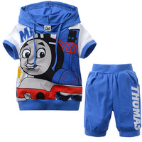 1 Set/lot New 2 Pcs children sets Thomas kids boys clothes hoodies t shit+pants summer child baby boy twinset clothing