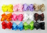 50pcs Gril  handmade Headwear 4 inch grosgrain ribbon Bowknot hair bows boutique hair clips Layered hair accessories HD3207