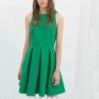 New Fashion Ladies' Elegant sleeveless green Dress O neck mini dress causal slim prom dress evening party brand design