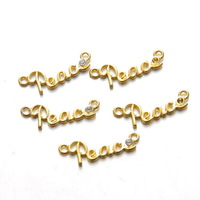 5pcs/lot DIY Accessories Floating Locket Charms  Gold Plated Alphabet Letters Peace  Pendant Ornament Fit With Bracelet Earrings