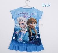 Fedex DHL Free shipping Fashion Frozen Princess Anna Elsa Short Sleeve Dress Children Baby Girl Girls Dresses,120pcs/lot