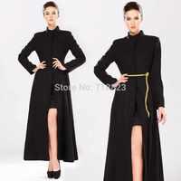 High-end custom 2014 winter new woolen longer section cashmere Slim big swing stand up collar female Warm coat black