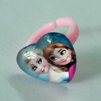 10 pcs/lot  3 Colors Mixed !Children Ring Frozen Elsa Anna  Heart Plastics Glass open Ring  jewelry Kids Girls Party favors R001