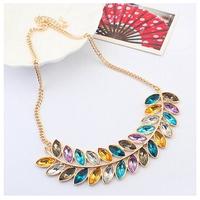 Leaf Feather Acrylic Crystal Gem Collar Choker Bib Statement Necklaces & Pendants New 2014 Fashion Jewelry Women Wholesale N161