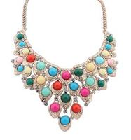 Bohemia Bead Shourouk Gem Ethnic Layered Collar Choker Bib Statement Necklaces & Pendants New 2014 Fashion Jewelry Women N168