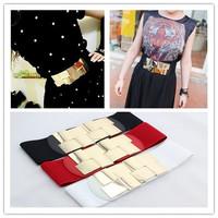 1PCS Fashion Simple Decorated Design Belts Sexy Gold metal mirror face wide belt for women ,Belt Elastic Cummerbund AY871338