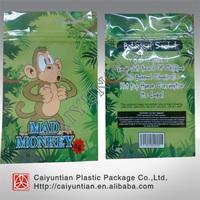Free shipping hot sale sexy monkey /mad monkey/crazy monkey herbal incense bag , 4g 10g monkey incense ziplock bag