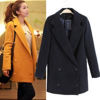 new fashion winter coat women solid long woollen coat casacos femininos Double-breasted women's coats 2014
