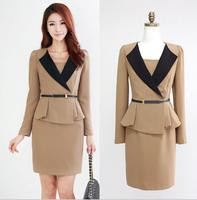 New 2014 Autumn And Winter Velvet One-piece Dress Fashion Casual Slim Long-sleeve Basic Formal Dresses Black Khaki Plus Size XL