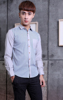 New 2014 Autumn And Winter Men's Shirts Fashion Casual Slim Plaid Men's long-sleeved Shirt Free Shipping Promotion