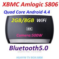 Perfect support   XBMC  Amlogic S806 Quad Core Cortex A9 S802 android4.4 2GB/8GB Mali450 GPU WiFi 4K*2K Bluetooth5.0,Camera:500W