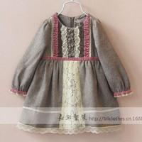 New arrival wholesale 5pcs/lot fashion autumn cotton baby dress kids patch lace flowers dress princess ruched frill blouse dress