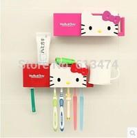 Hello Kitty Toothbrush holder Muti-function Cartoon wash Room commodity shelf pink/red